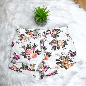 Forever 21 Button Fly Flower Denim Shorts